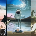 Misfit Mania Triptych. oil on linen 180cm x92cm all three panels